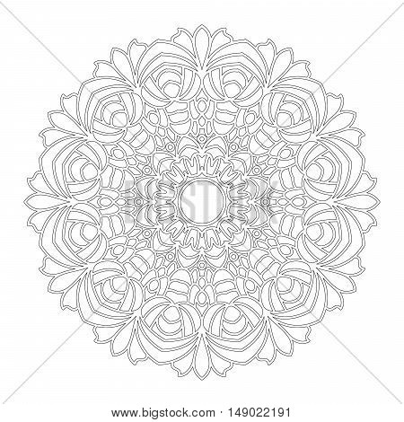 vector black and white round geometric floral mandala with flowers - adult coloring book page