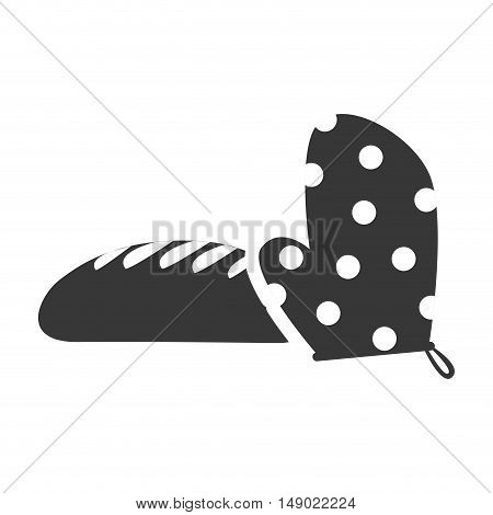 bread bakery food product with kitchen gloves icon silhouette. vector illustration