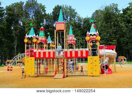 Kharkiv / Ukraine. 07 August 2016: childish fortress on the playground in the city park of Kharkiv. 07 August 2016 in Kharkiv / Ukraine.