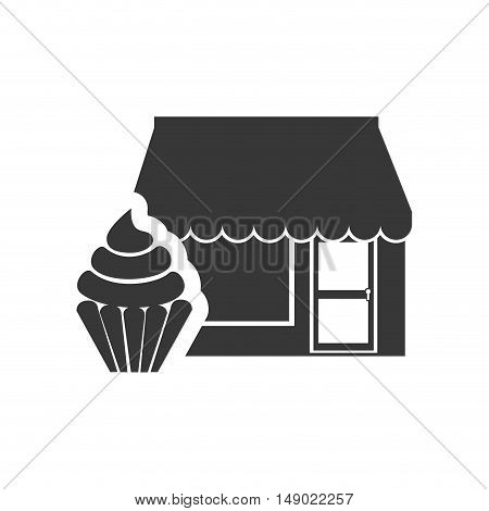 store bakery commerce building with sweet cupcake dessert icon silhouette. vector illustration