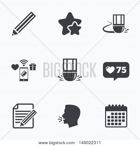 Pencil icon. Edit document file. Eraser sign. Correct drawing symbol. Flat talking head, calendar icons. Stars, like counter icons. Vector