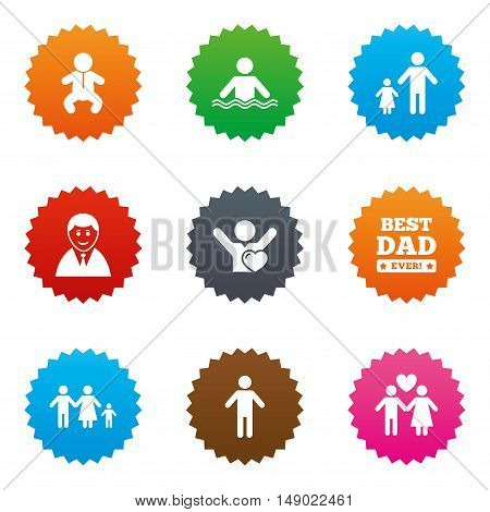 People, family icons. Swimming pool, love and children signs. Best dad, father and mother symbols. Stars label button with flat icons. Vector