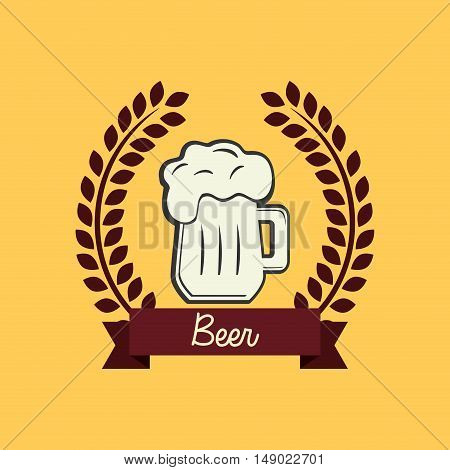 flat design glass of beer emblem image vector illustration