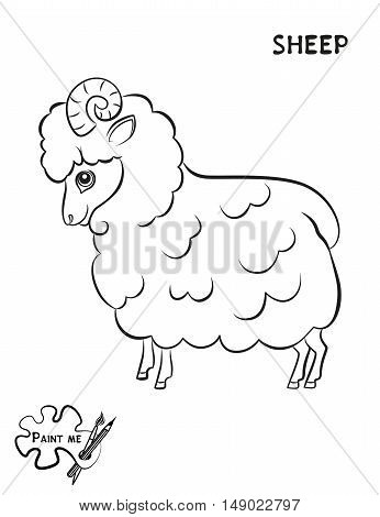 Children's coloring book that says Paint me. Sheep