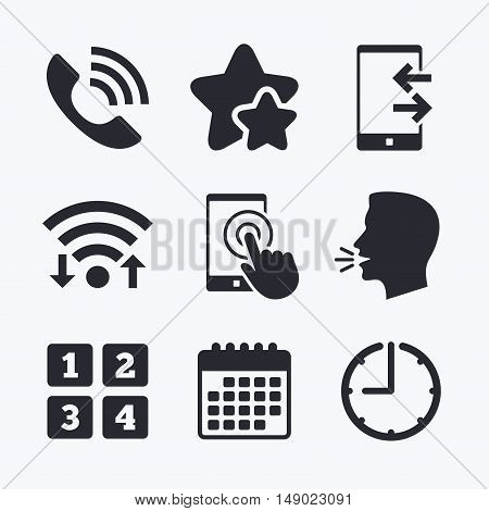 Phone icons. Touch screen smartphone sign. Call center support symbol. Cellphone keyboard symbol. Incoming and outcoming calls. Wifi internet, favorite stars, calendar and clock. Talking head. Vector