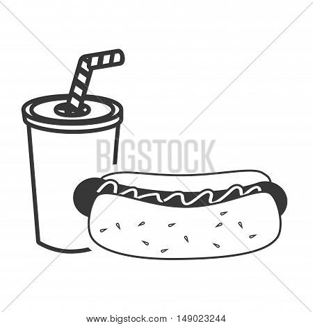 hot dog fast food and soda drink icon silhouette. vector illustration