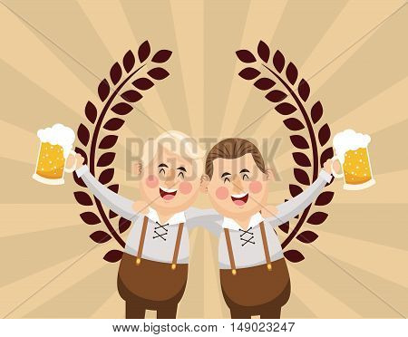 flat design germany oktoberfest beer emblem image vector illustration