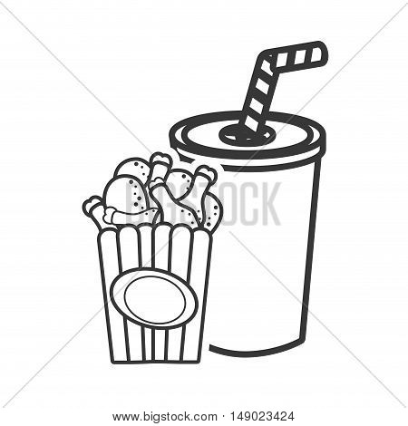 soda plastic cup with straw and fried chicken legs box icon silhouette. vector illustration