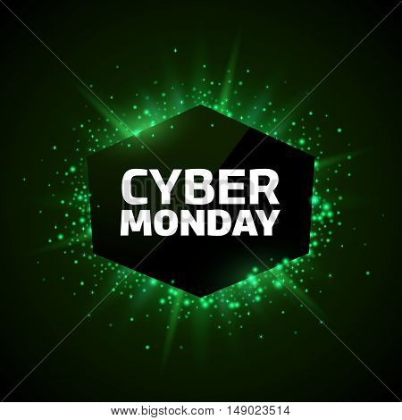 Cyber Monday promotion banner template. Green explosion made of stars and digits on a dark background.