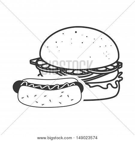 american burger and hot dog fast food icon silhouette. vector illustration