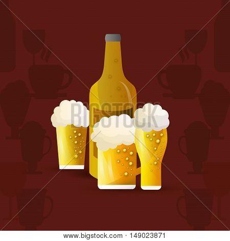 flat design bottle and glass of beer emblem image vector illustration