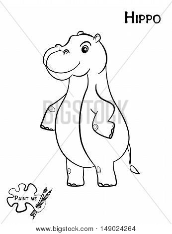 Children's coloring book that says Paint me. Hippo