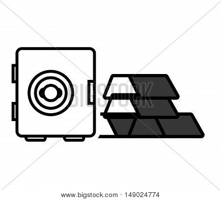 gold bars block with safebox icon silhouette. vector illustration