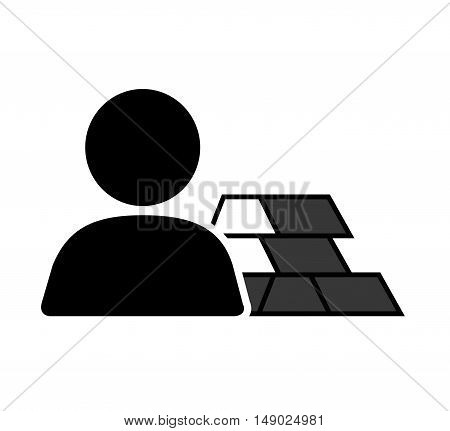 gold bars block with avatar person user icon silhouette. vector illustration