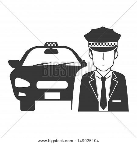 taxi car public service with driver man icon silhouette. vector illustration