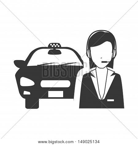 taxi car public service with woman call service icon silhouette. vector illustration