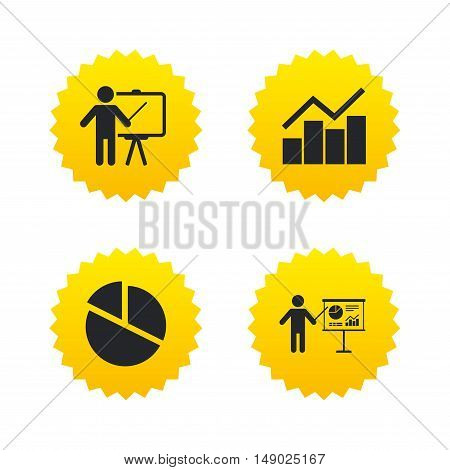 Diagram graph Pie chart icon. Presentation billboard symbol. Man standing with pointer sign. Yellow stars labels with flat icons. Vector