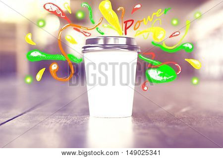 Blank white take away coffee cup with creative colorful power sketch. Mock up