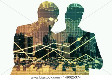 Two businesspeople silhouettes discussing something on abstract background with city and forex chart. Partnership and financial growth concept. Double exposure