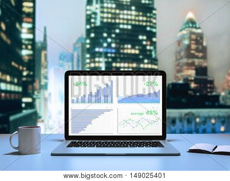 Front view of laptop with business chart placed on desktop with coffee cup and notepad. Illuminated night city background. Financial growth concept. 3D Rendering