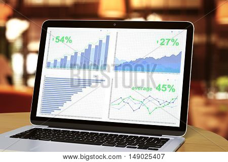 Closeup of laptop with business report on screen. Blurry background. Financial growth concept. 3D Rendering