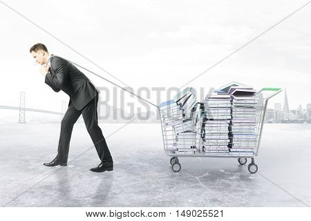 Businessman dragging trolley with heap of book on white background. Education concept. 3D Rendering