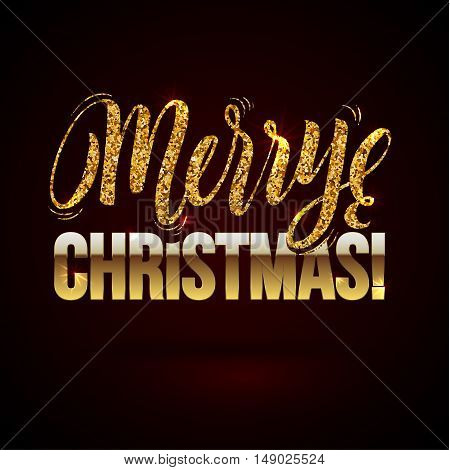 Christmas card Gold sparkles on black background. Gold glitter and Calligraphy Background. Greeting Card X-MAS