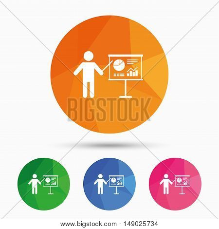Presentation sign icon. Man standing with pointer. Scheme and Diagram symbol. Triangular low poly button with flat icon. Vector