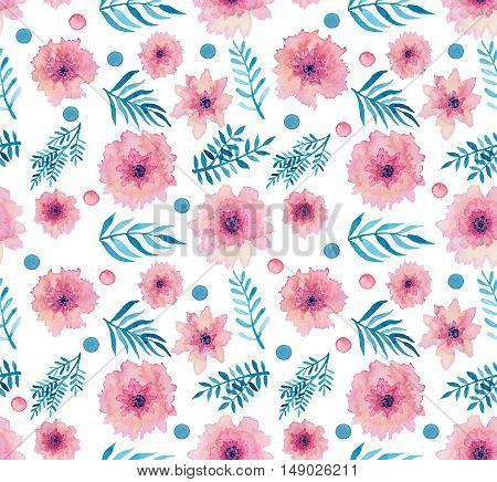 Watercolor Pink Delicate Flowers Little Dots And Leaves Seamless Pattern