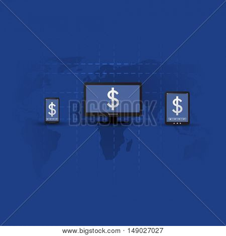 Online Banking Concept, Buy, Sell, Pay on Any Device - Vector Illustration