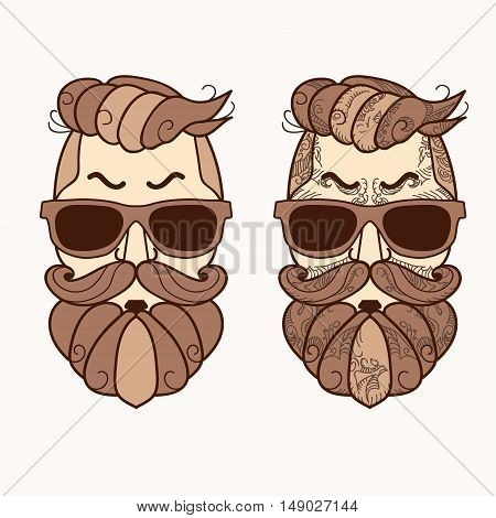 Hipster face, Ornate Zentangle style. Avatar character with brown color beard, hair and glasses. Retro style, vintage design. Vector