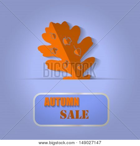 Sales banner with autumn oak leaf on a blue background. Vector