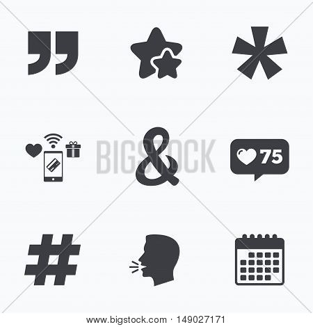 Quote, asterisk footnote icons. Hashtag social media and ampersand symbols. Programming logical operator AND sign. Flat talking head, calendar icons. Stars, like counter icons. Vector