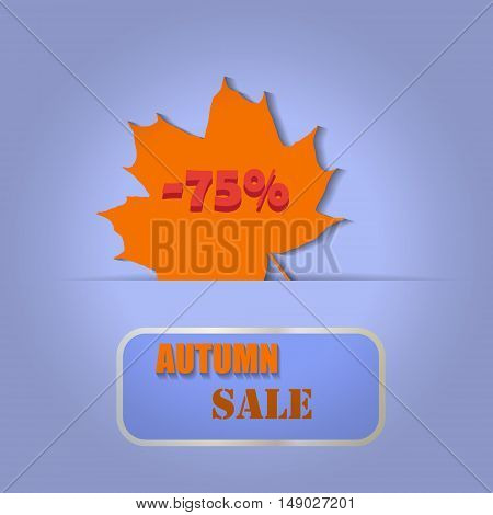 Sales banner with autumn maple leaf on a blue background. Vector