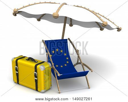 Recreation of the European Union. Empty sunbed with a flag of European Union and an umbrella on a white surface. Isolated. 3D Illustration