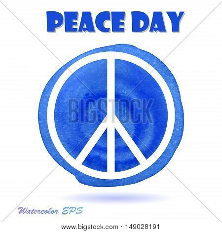 Vector Watercolor Illustration for Peace Day. Peace Day Sign