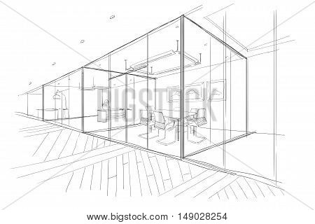 The Workplace Illustration. Hand drawn sketch. Architecture.