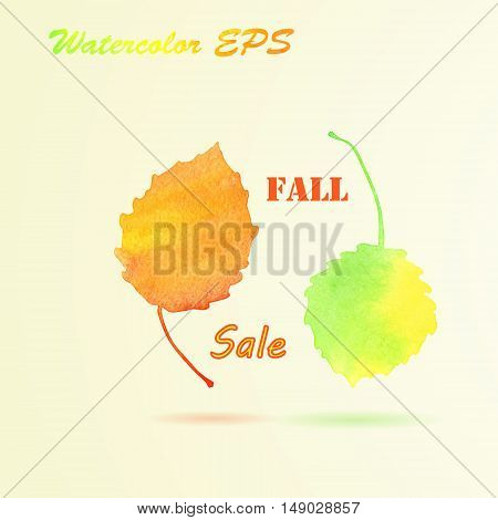 Watercolor Autumn Aspen Leaves. Vector Fall Sale Banner