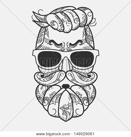 Hipster face, Ornate Zentangle style. Avatar character with gray color beard, hair and glasses. Retro style, vintage design. Vector
