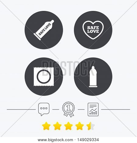Safe sex love icons. Condom in package symbol. Fertilization or insemination. Heart sign. Chat, award medal and report linear icons. Star vote ranking. Vector