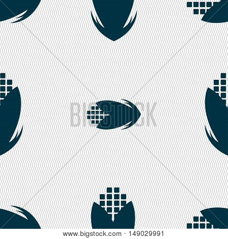 Corn Icon Sign. Seamless Pattern With Geometric Texture. Vector