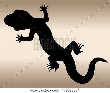 Lizard. The black silhouette of a reptile. Vector illustration.