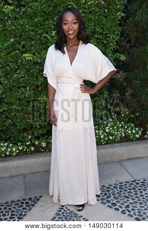 LOS ANGELES - SEP 25:  Aja Naomi King arrives to The Rape Foundation Annual Brunch on September 25, 2016 in Beverly Hills, CA