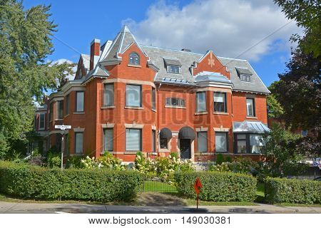 MONTREAL QUEBEC CANADA 09 16 2016: Westmount is an affluent suburb on the Island of Montreal, having been at one point the richest community in Canada.