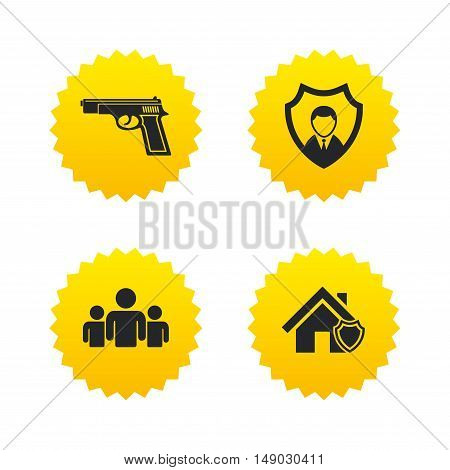 Security agency icons. Home shield protection symbols. Gun weapon sign. Group of people or Share. Yellow stars labels with flat icons. Vector