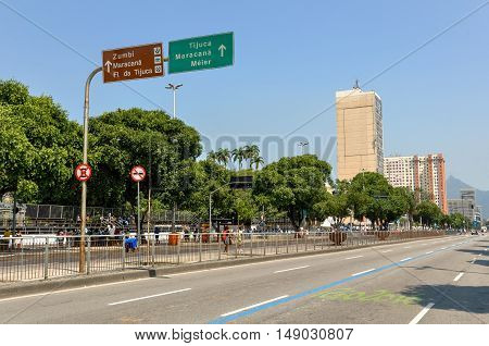 Rio de Janeiro, Brazil - September 7, 2016: Presidente Vargas avenue is one of the main streets of the city, but is empty on the Independence Day.