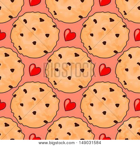 Seamless pattern with delicious chocolate chip cookies andred hearts. Cute pattern.