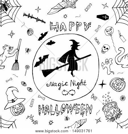 Happy Halloween Hand Drawn Vector Pattern. Detailed Freehand Holiday seamless background with Horror Sketch elements. Impression Handmade Doodles: Welcome to Scary Party. Drawing Illustration.