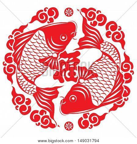 Traditional chinese New Year Symbol fish koi