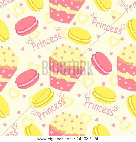 Candy princess pattern with cupcake and heart on a white background.